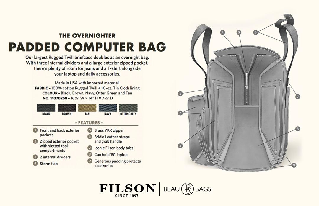 Filson Padded Computer Bag 11070258 Black explanation