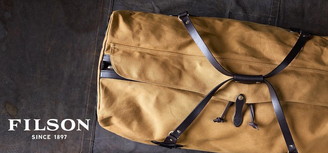 Filson Rolling Duffle Extra Large Tan, großräumiger Reisetasche mit ikonischen Bridle Leather body