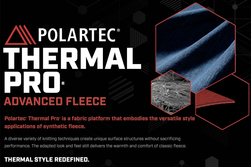 Polartec Thermal Pro, lightweight and quick-drying