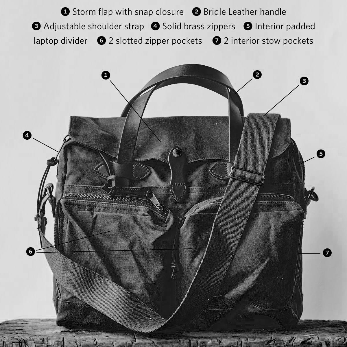 Filson-24-Hour-Briefcase-Cinder briefcase-features