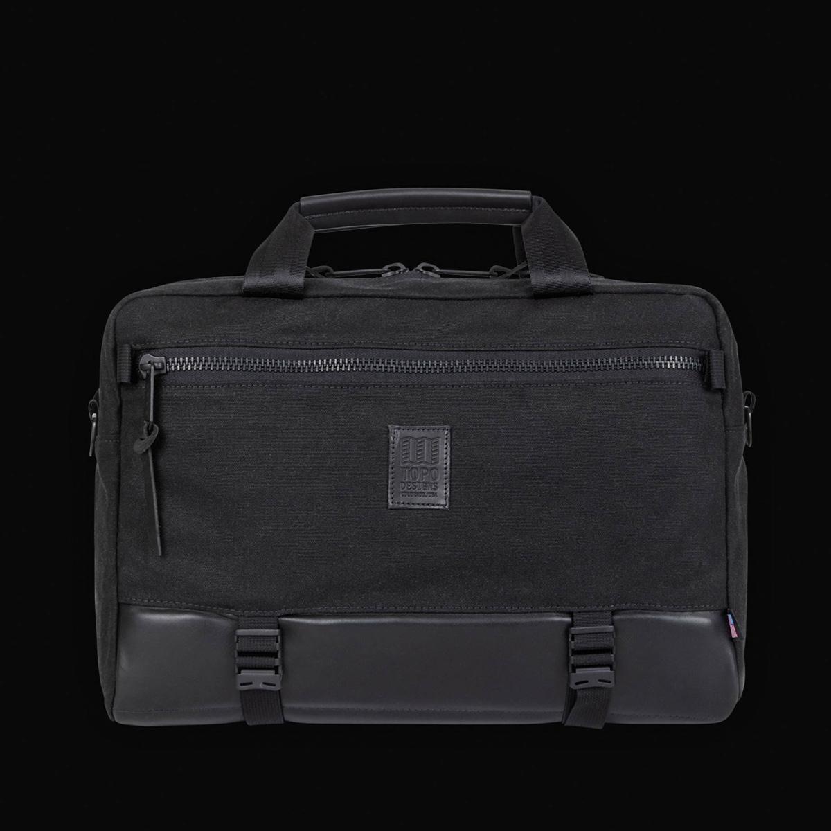 Topo Designs Commuter Briefcase Heritige Black Canvas/Black Leather, Aktentasche, Umhängetasche und Rucksack