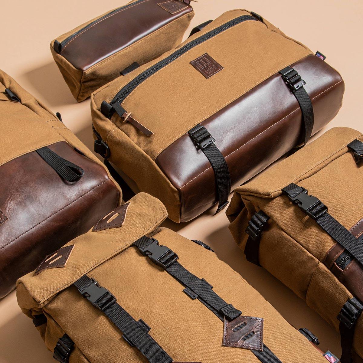Topo Designs Commuter Briefcase Heritage Dark Khaki Canvas/Dark Brown Leather, perfekte Tasche mit durchdachter Funktionalität