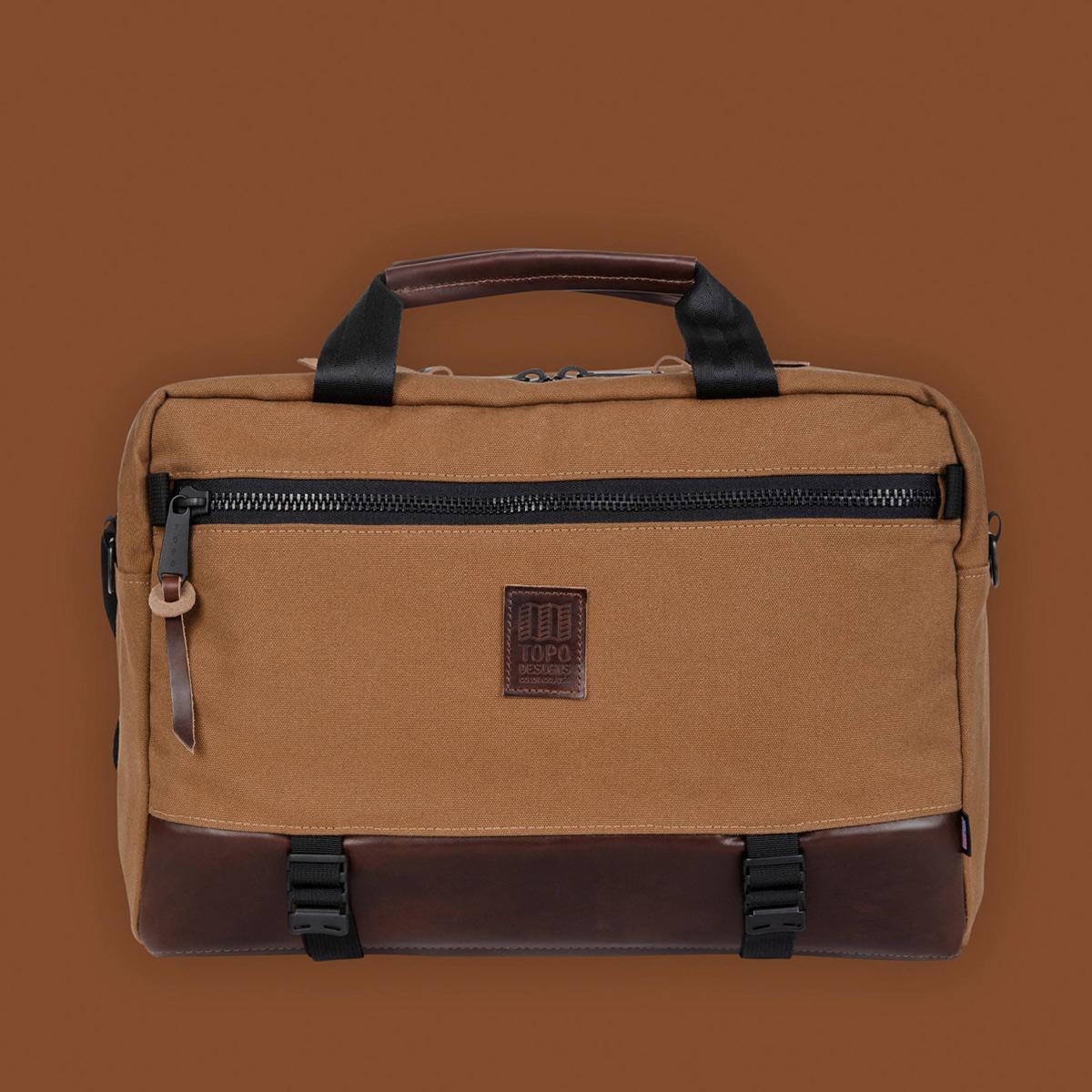 Topo Designs Commuter Briefcase Heritage Dark Khaki Canvas/Dark Brown Leather, Aktentasche, Umhängetasche und Rucksack