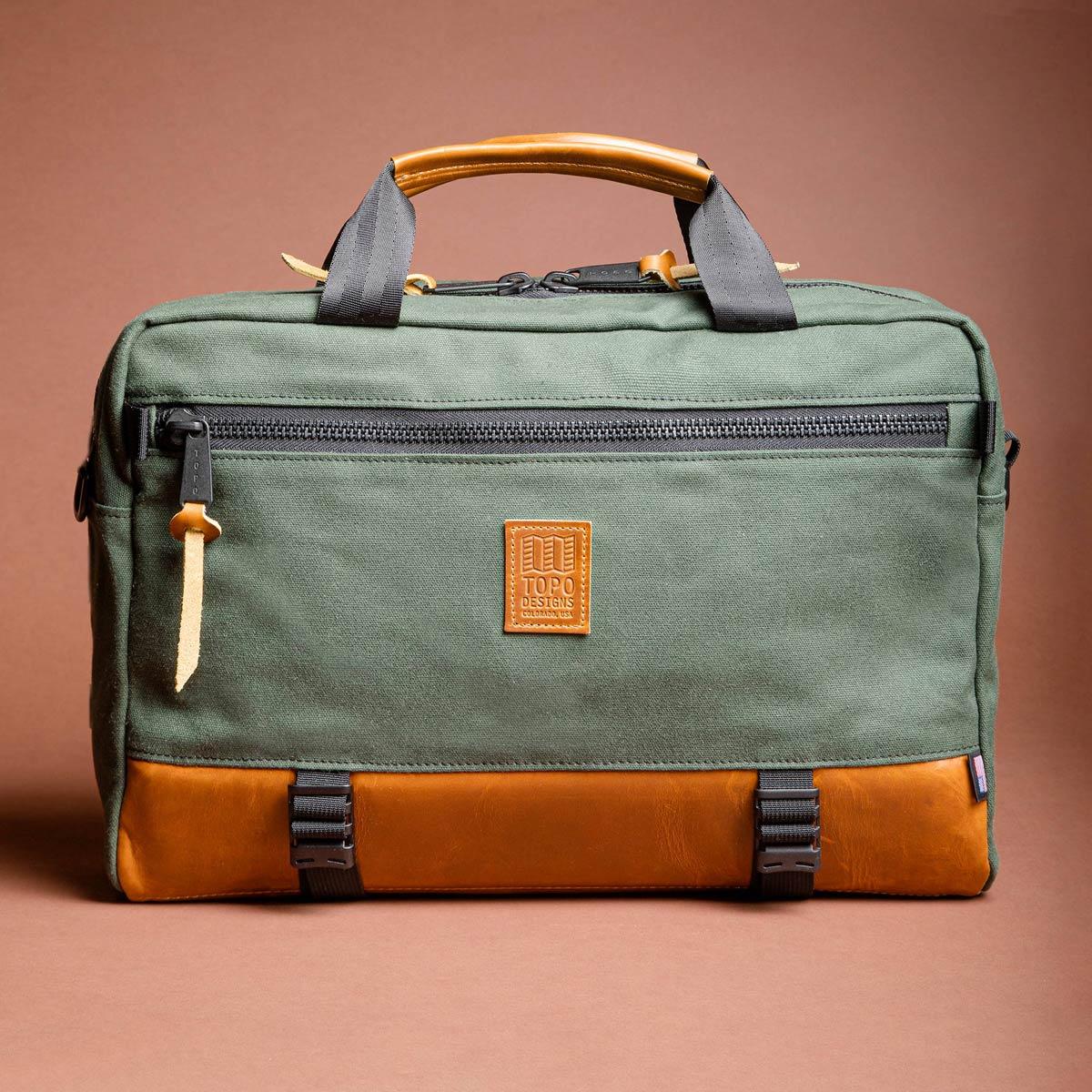 Topo Designs Commuter Briefcase Heritage Olive Canvas/Brown Leather, Aktentasche, Umhängetasche und Rucksack