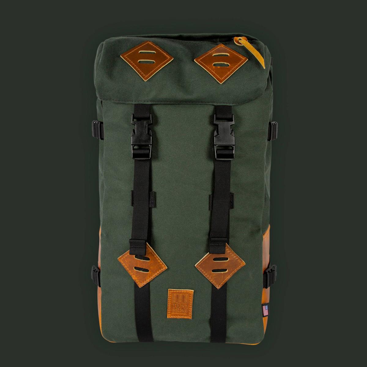 Topo Designs Klettersack Heritage Olive Canvas/Brown Leather, Schöner Rucksack für Männer und Frauen