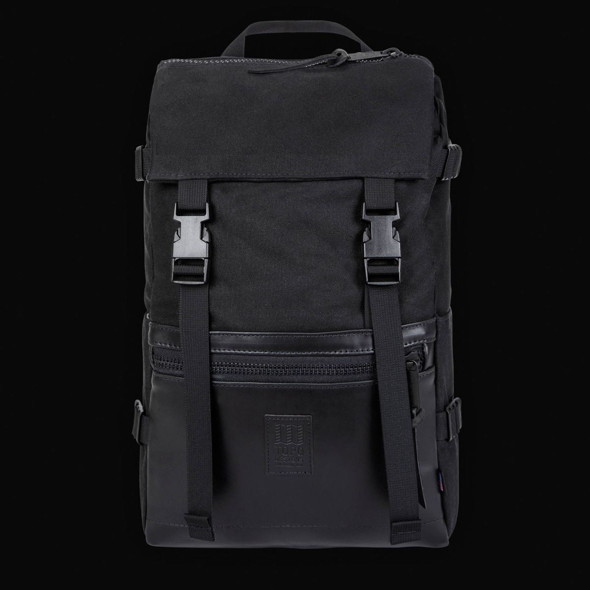 Topo Designs Rover Pack Heritage Black Canvas/Black Leather, der ideale Rucksack für den täglichen Gebrauch