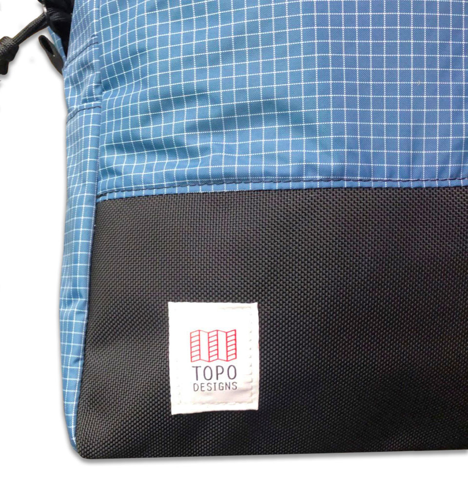 Topo Designs Daypack Blue/White Ripstop, detail Ballistic Nylon