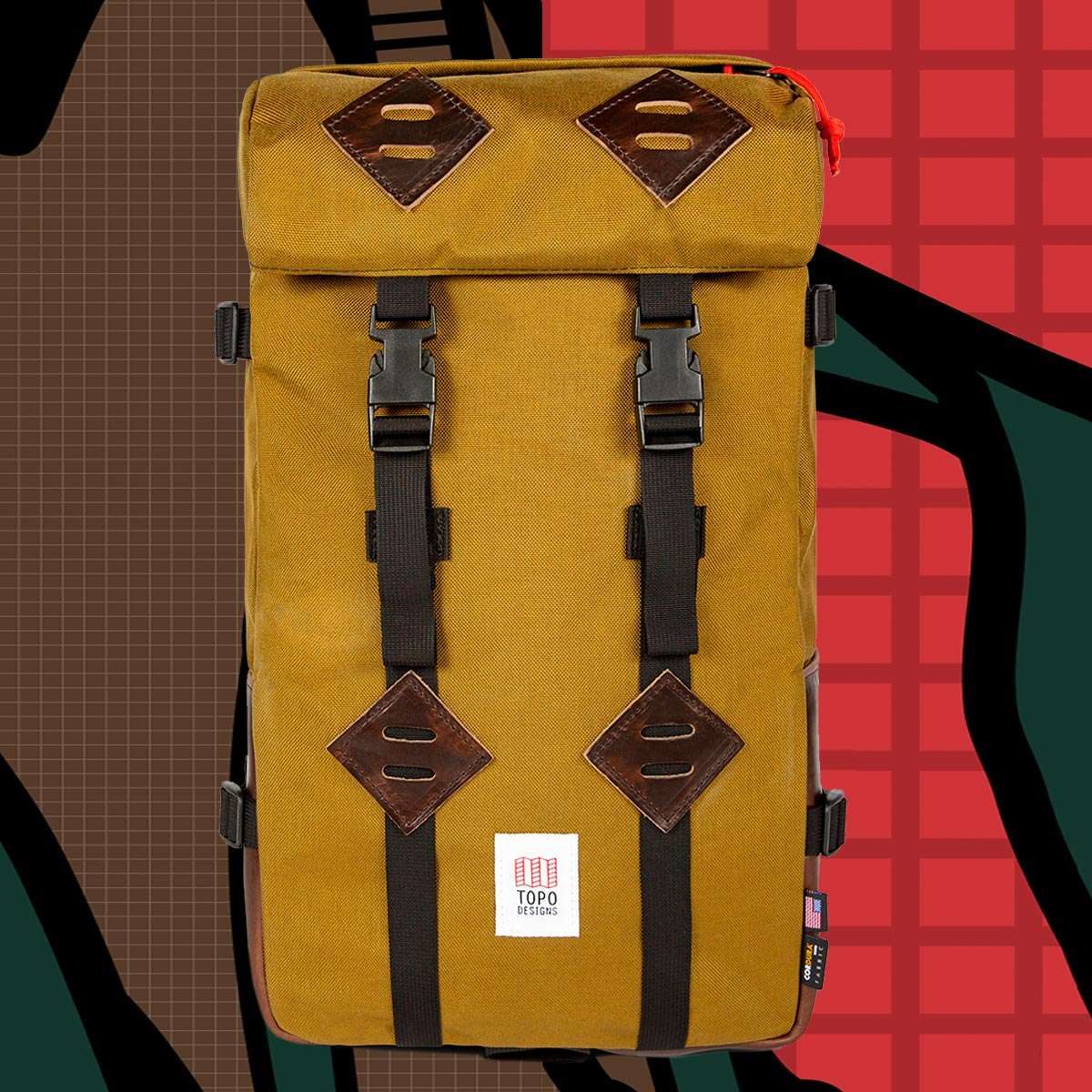 Topo Designs Klettersack Backpack Duck Brown/Brown Leather Lifestyle, perfect backpack for men and women
