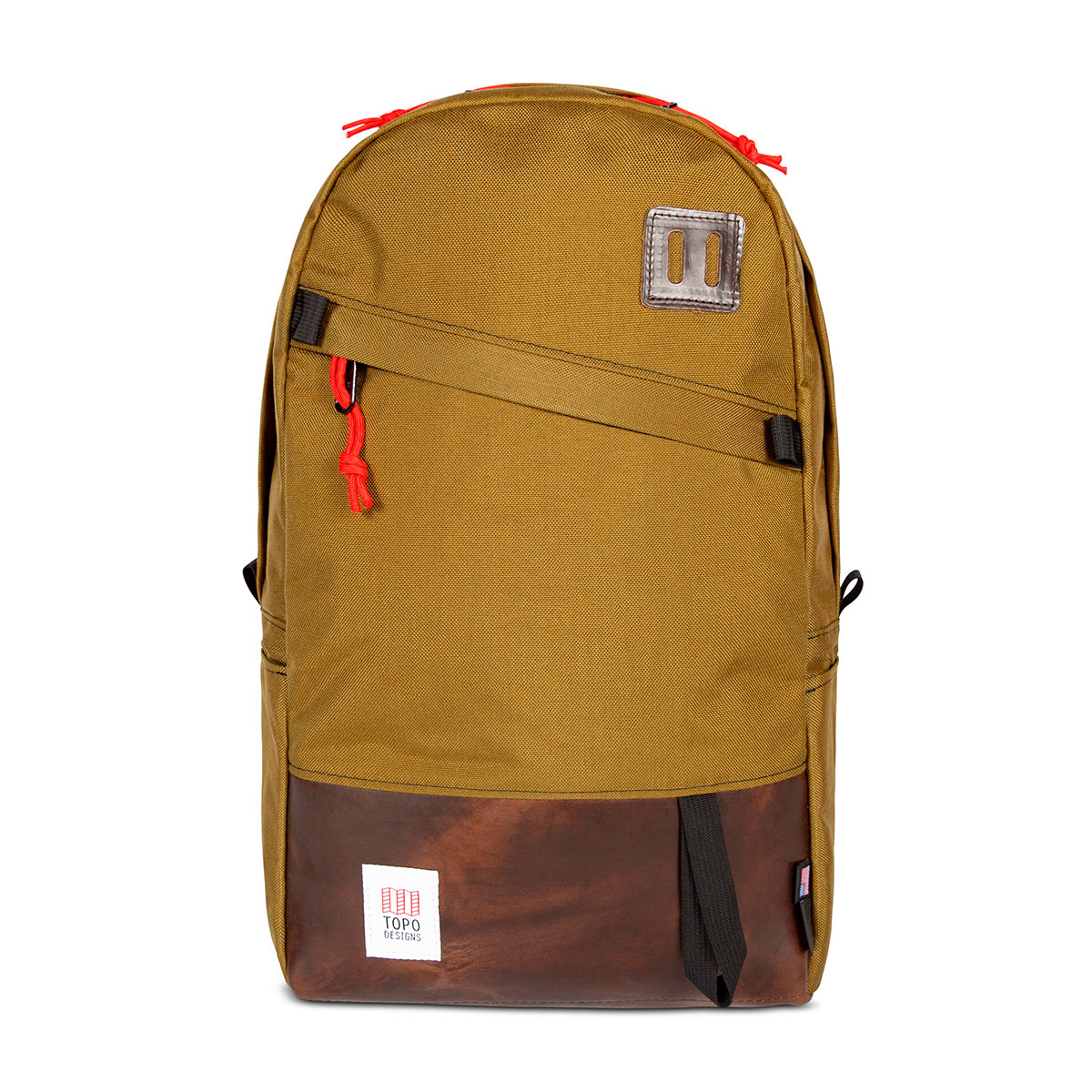 Topo Designs Daypack Duck Brown/Dark Brown Leather starker Rucksack in 1000D Cordura mit 15 Zoll Laptopfach