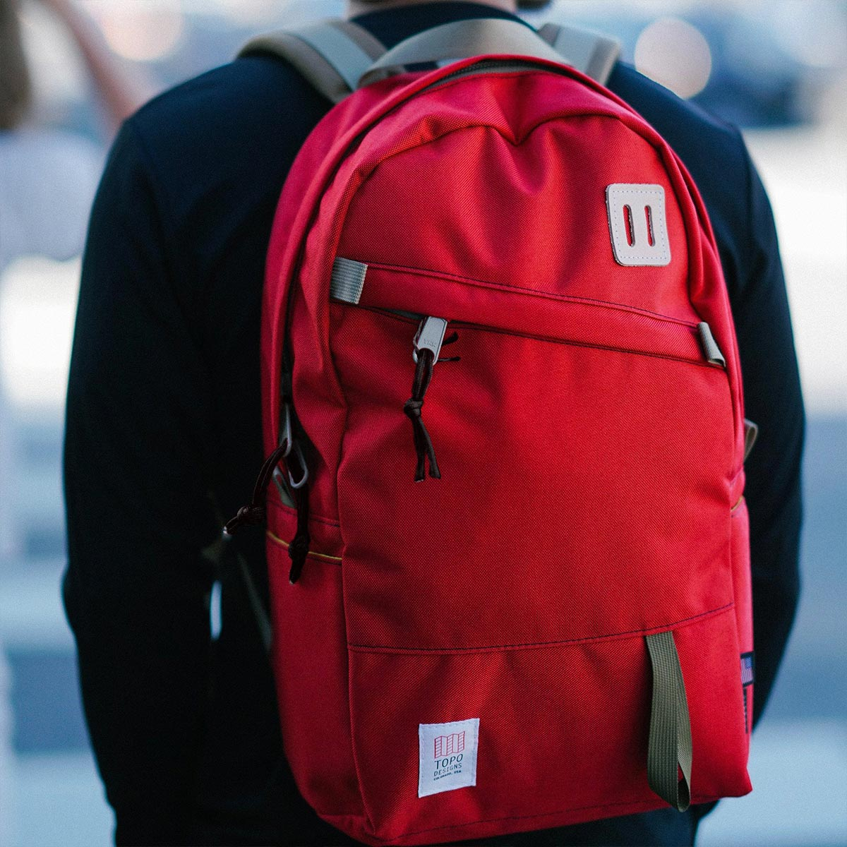 Topo Designs Daypack backpack Red, Idealer Reiserucksack für Reise, Stadt, Arbeit oder Schule.