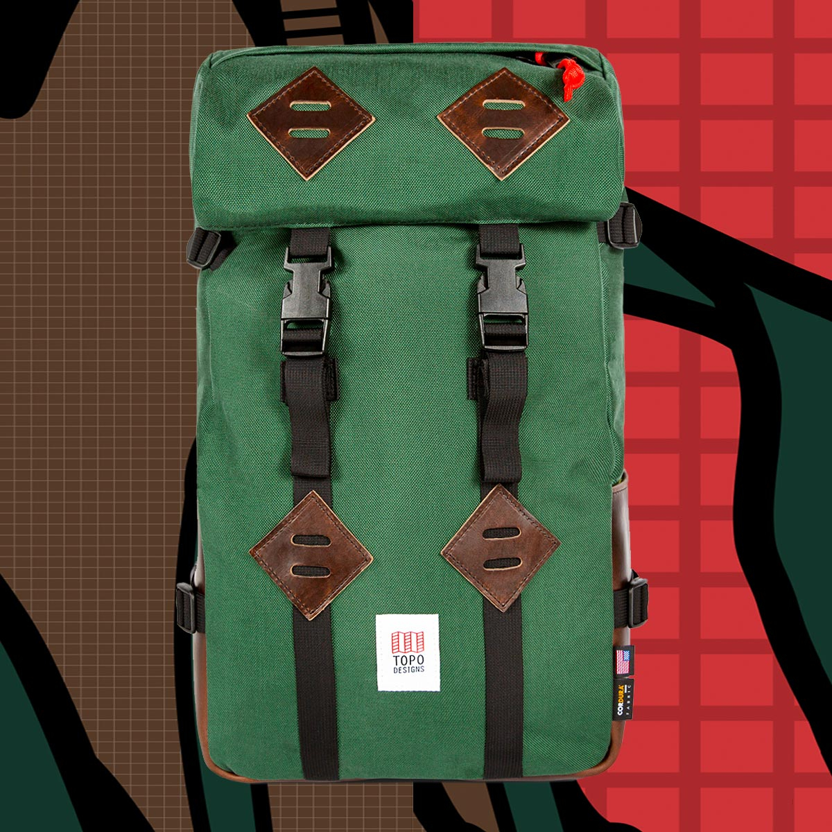 Topo Designs Klettersack Forest/Brown Leather Lifestyle, classic backpack for men and women