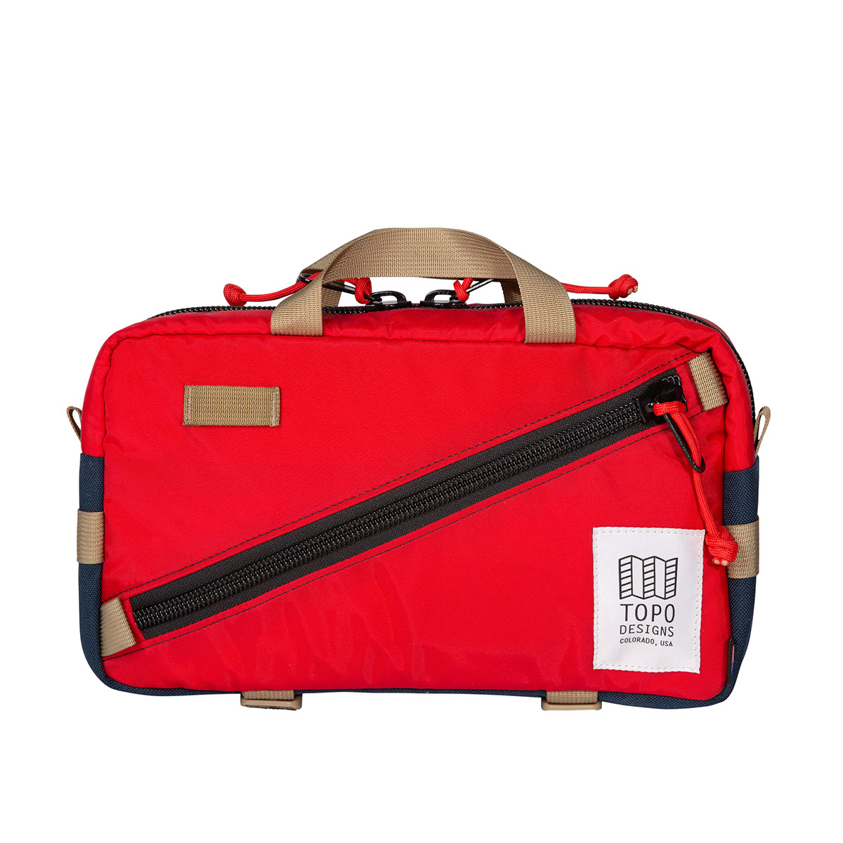 Topo Designs Quick Pack Red/Navy, a well-built, secure bag for travel