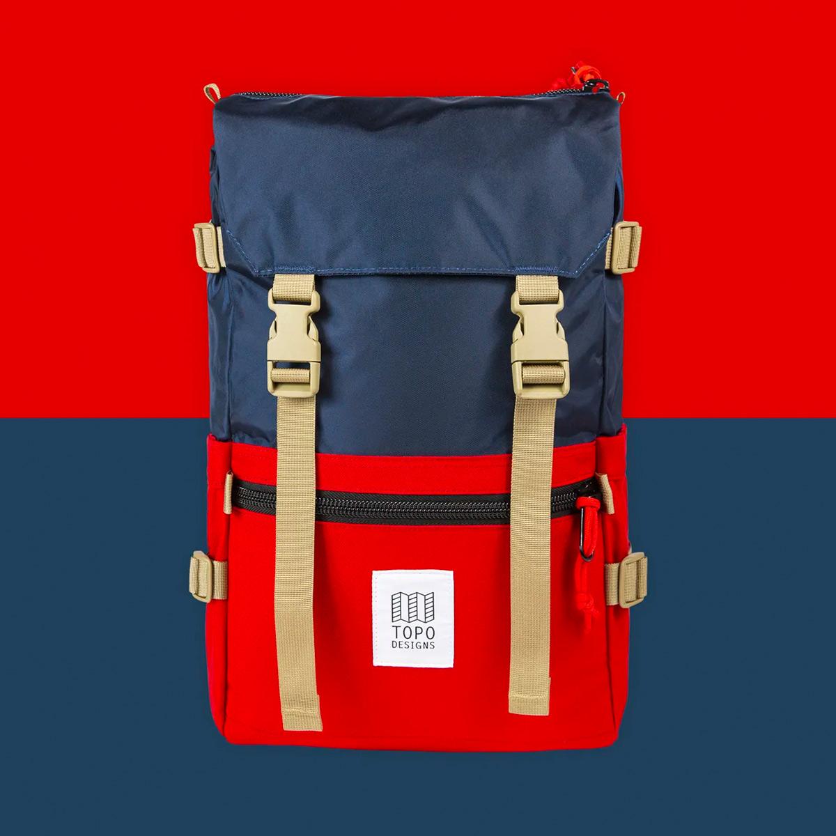 Topo Designs Rover Pack Classic Navy/Red, Rucksack ideal für Freizeit und Business