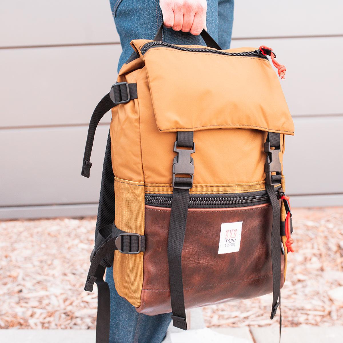 Topo Designs Rover Pack Heritage Duck Brown/Dark Brown Leather, der ideale Rucksack für den täglichen Gebrauch