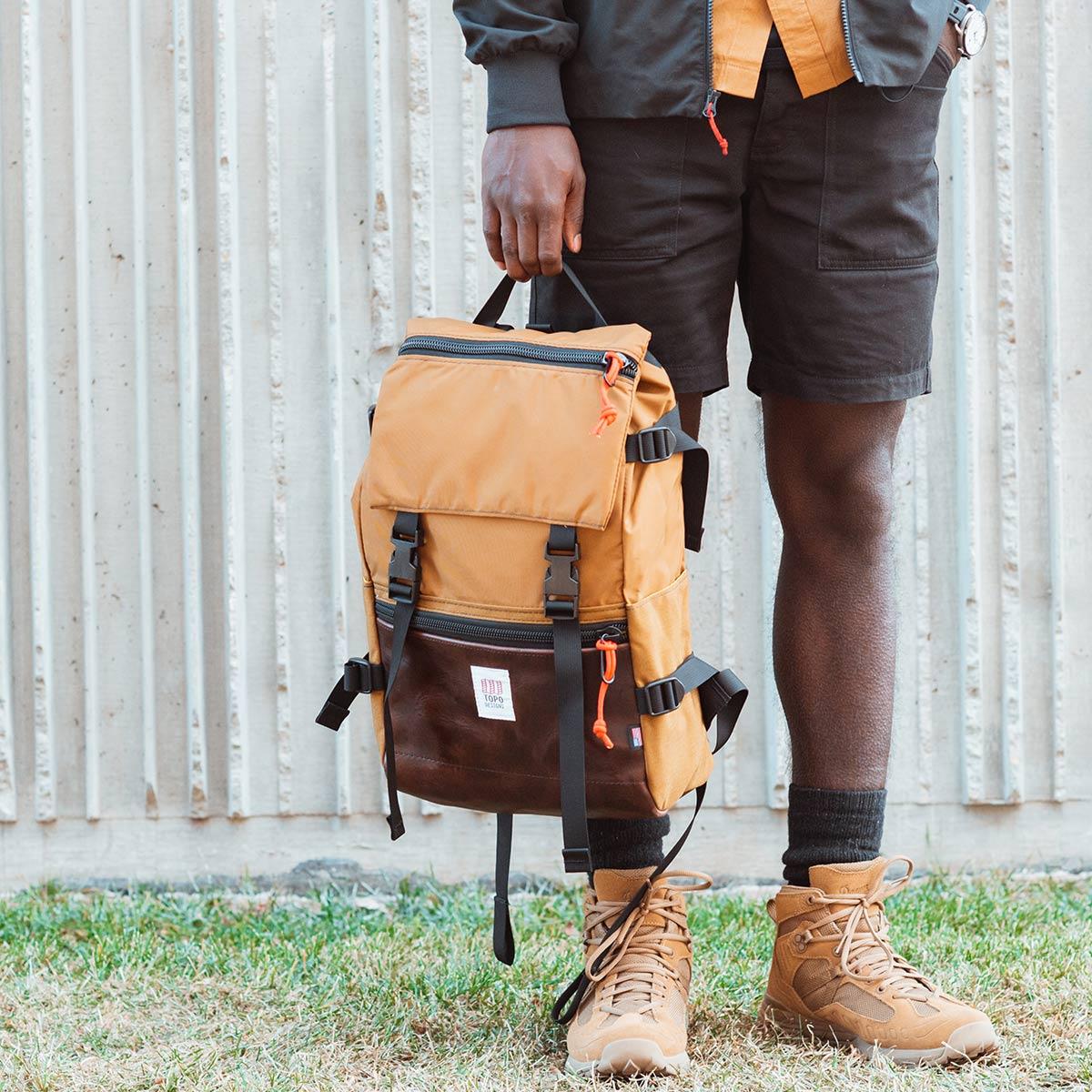 Topo Designs Rover Pack Heritage Duck Brown/Dark Brown Leather, ikonischer Rucksack für Männer und Damen