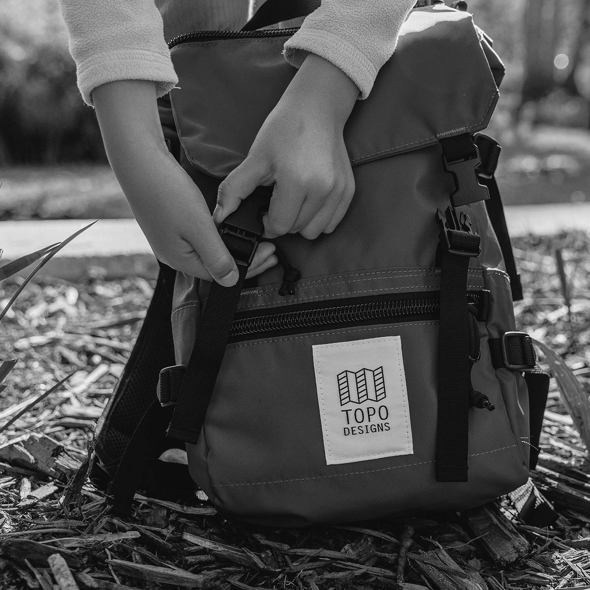 Topo Designs Rover Pack - Mini Black-Black, statement-making bag that's the perfect size for errands around town or on the trail