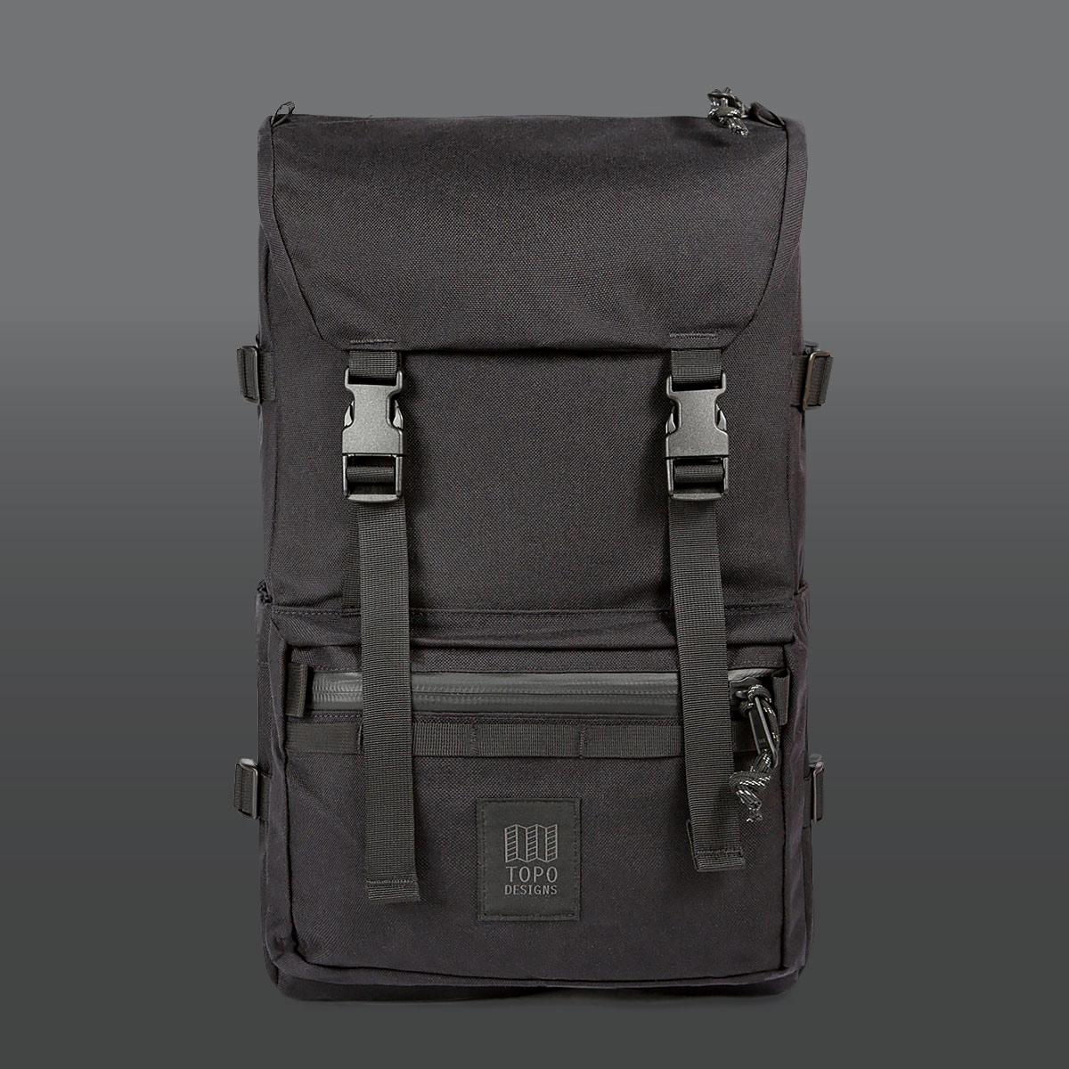Topo Designs Rover Pack Tech Black, der ideale Rucksack für den täglichen Gebrauch