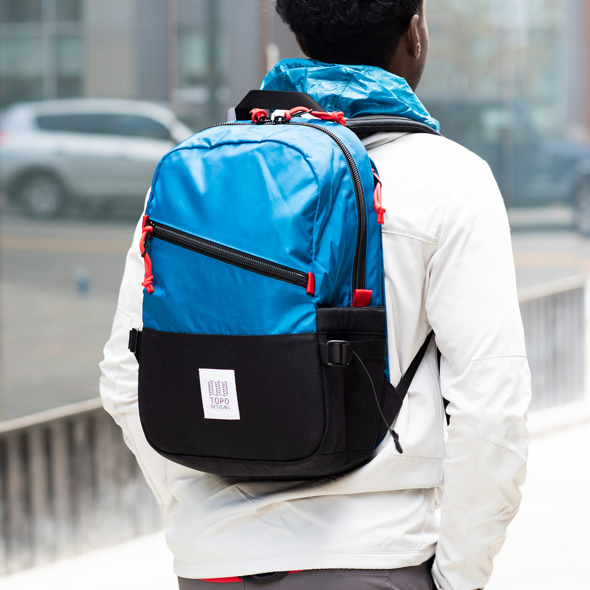 """Topo Designs Standard Pack BlaNavy/Redck, ideal travel backpack with external padded 15"""" laptop sleeve"""