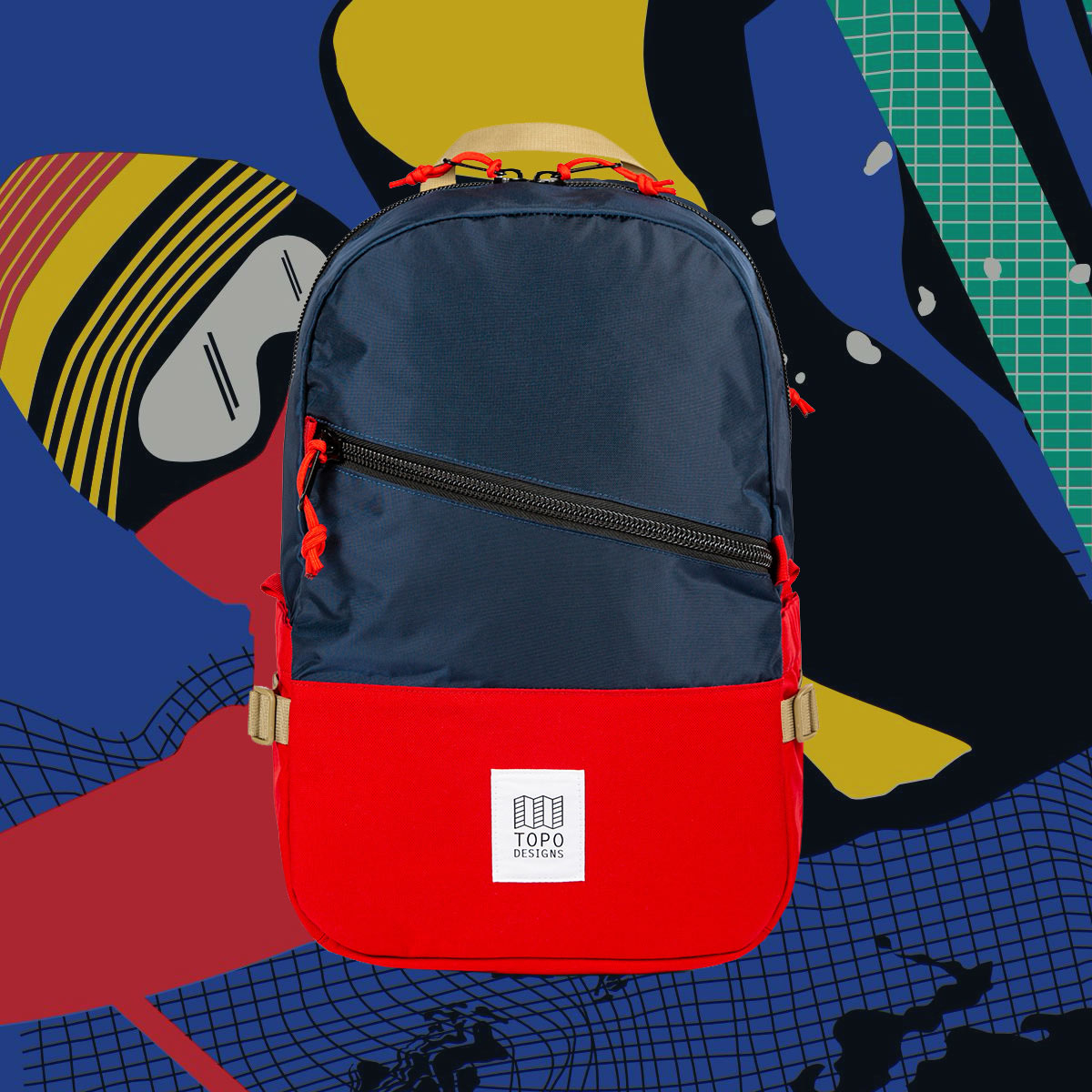 Topo Designs Standard backpack Navy/Red, classic backpack in durable 1000D nylon