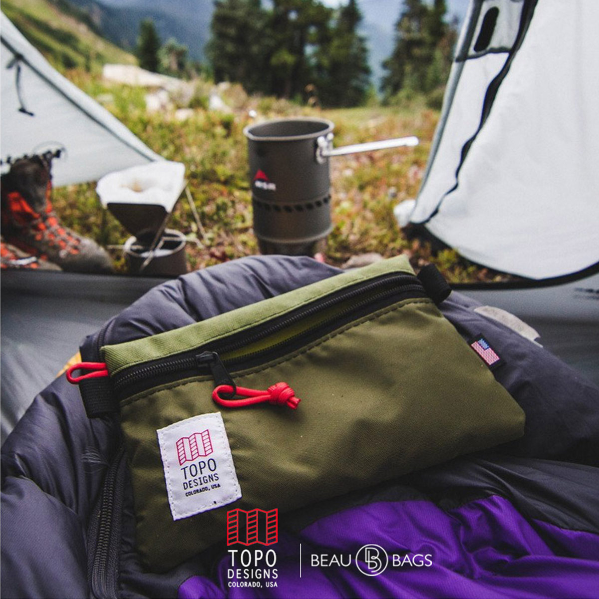 Topo Designs Accessory Bags Olive 3 Sizes, built for durability and organization