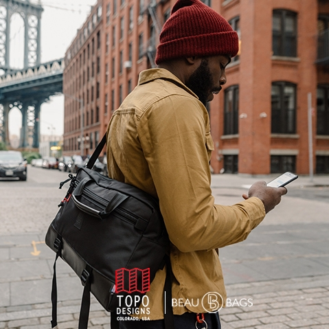 Topo Designs Commuter Briefcase Ballistic/Black Leather, perfect briefcase for Office, Travel, and Everyday