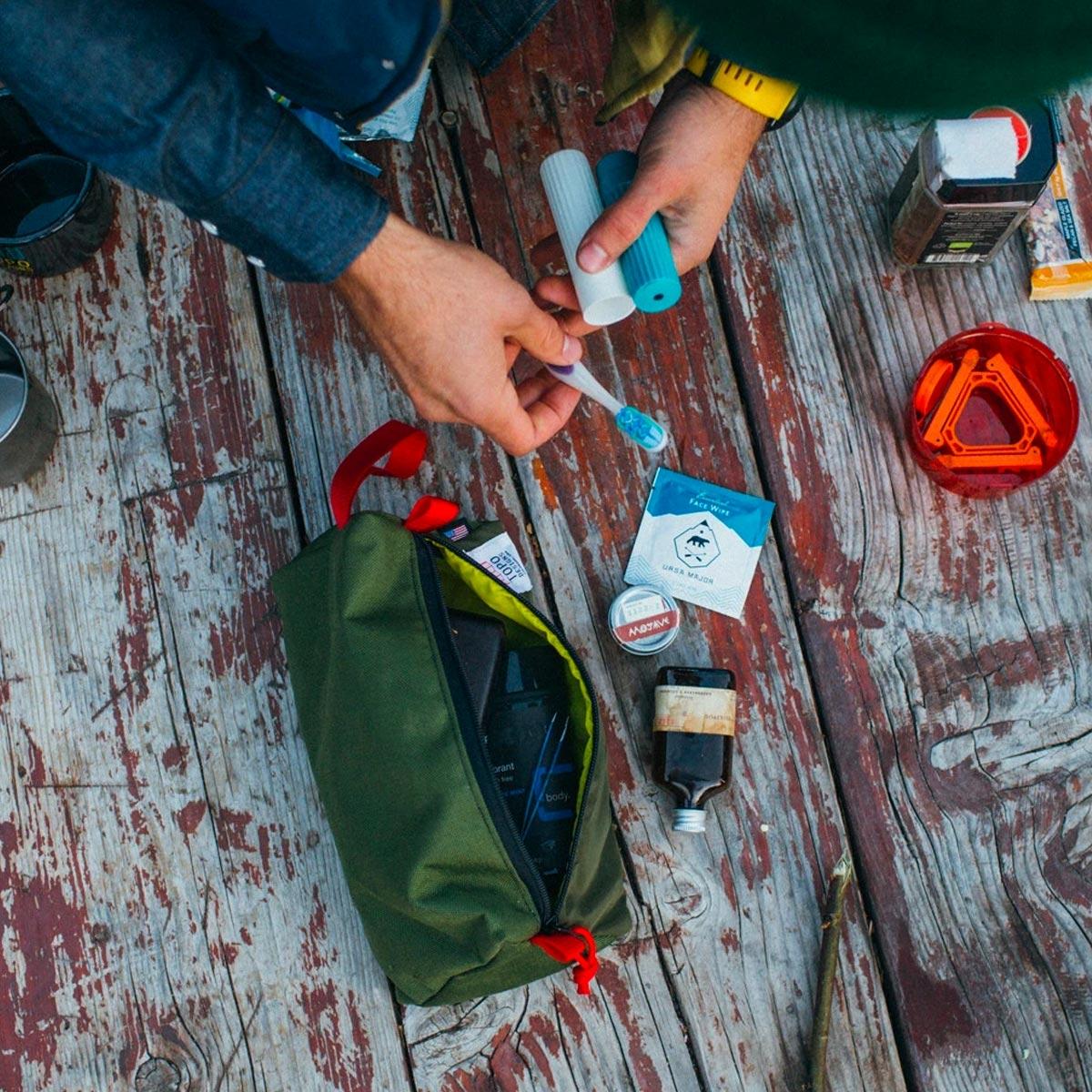 Topo Designs Dopp Kit Olive, water-resistant, travel light, accessory bag