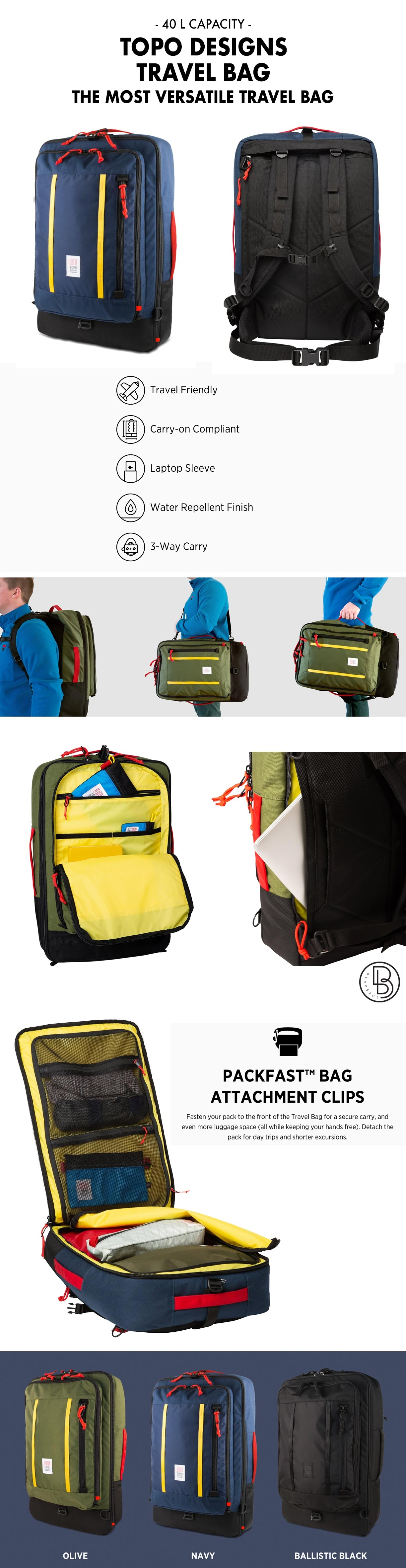 Topo Designs Travel Bag 40L product information