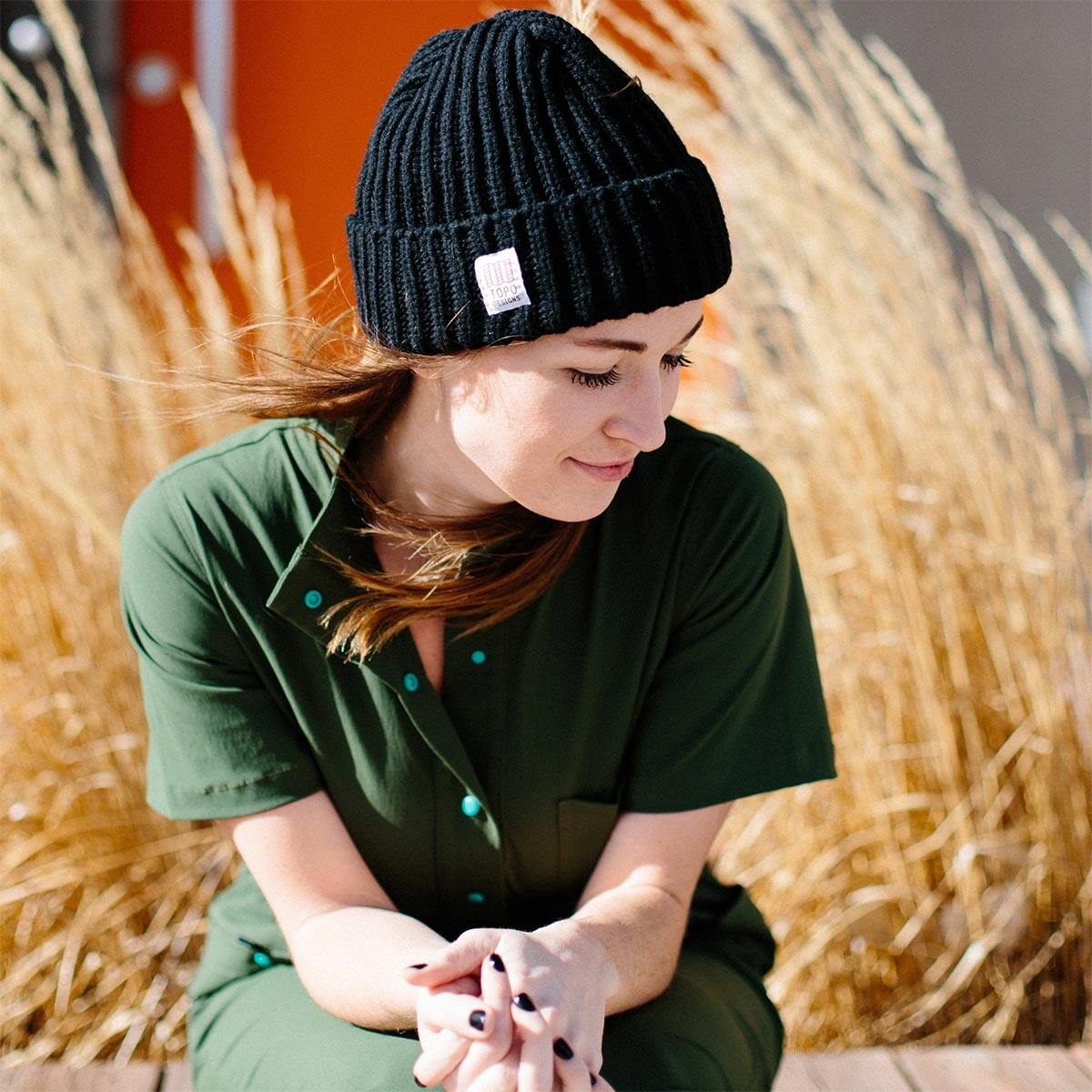 Topo Designs Wool Beanie Black, 100% merino wool beanie features a chunky, loose knit weave.