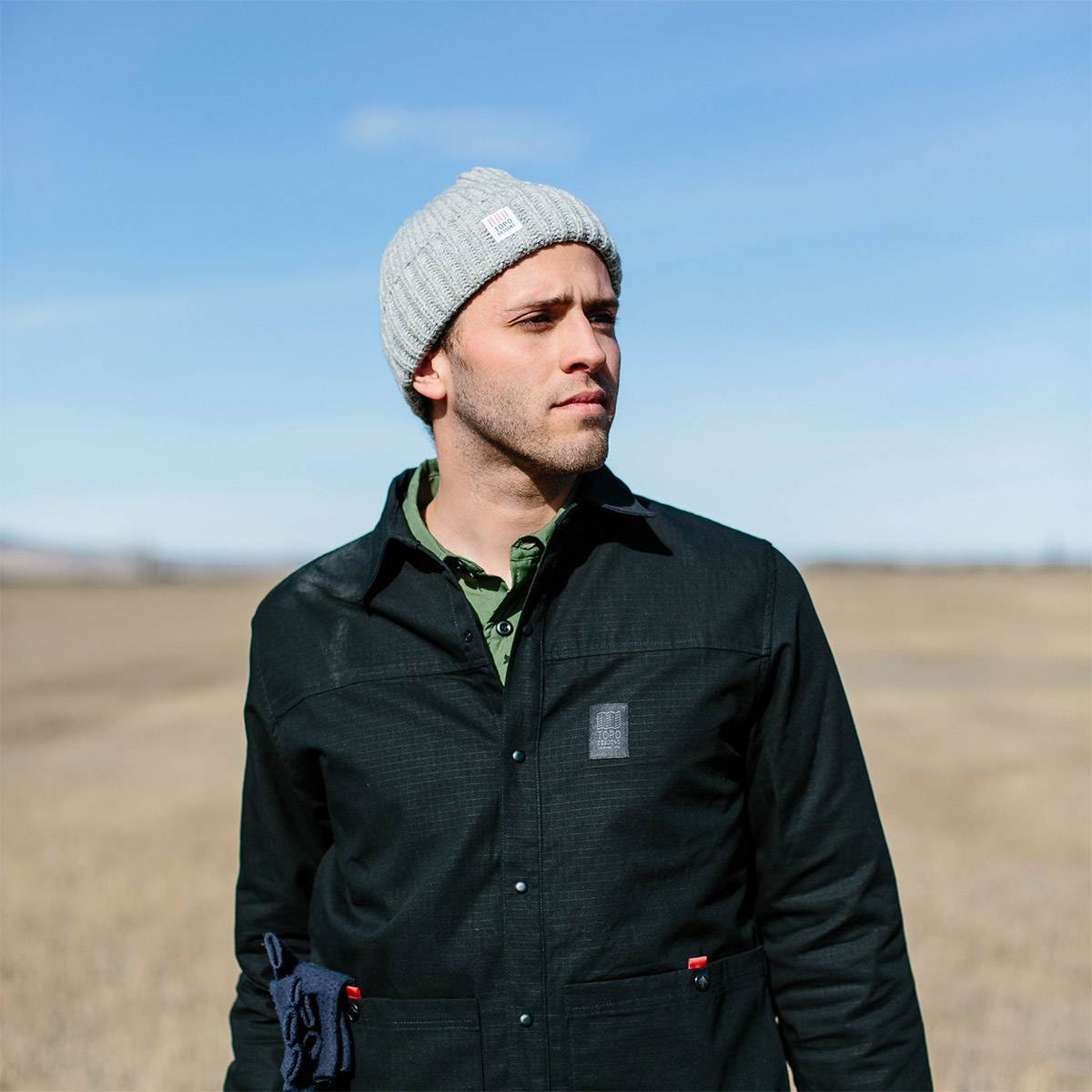 Topo Designs Wool Beanie Gray, 100% merino wool beanie features a chunky, loose knit weave.