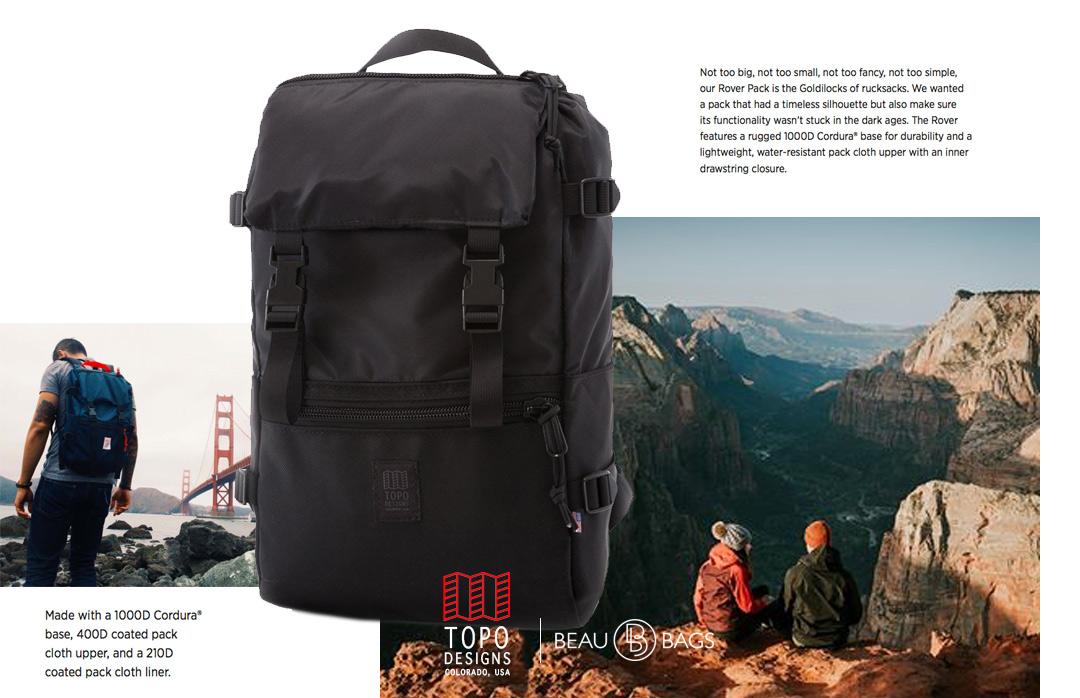 Topo Designs Rover Pack Ballistic Black, ideale Rucksack für den täglichen Gebrauch