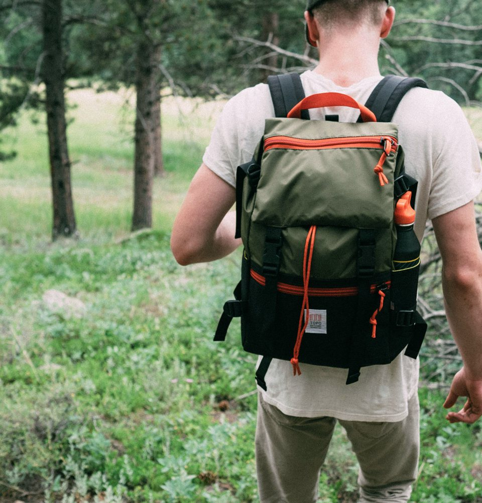 Topo Designs Rover Pack Black Olive, the perfect bag for nature and in the city